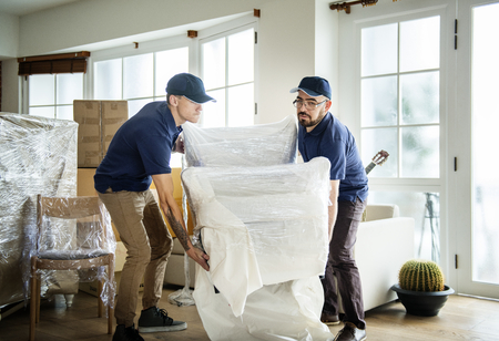 Furniture delivery service concept 스톡 콘텐츠