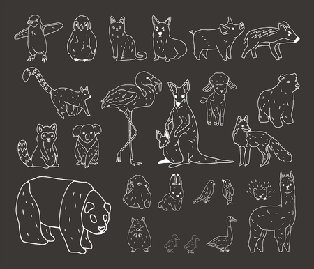 Animals Illustration Art Set Stok Fotoğraf