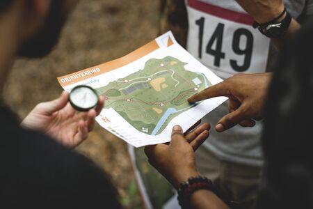 Outdoor orienteering check point activity