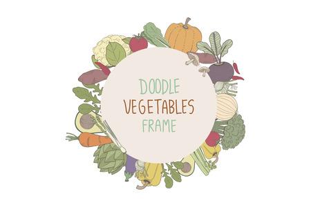 Doodle vegetable frame Foto de archivo - 116773432