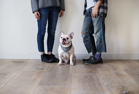 Asian couple with French bulldog Stock Photo