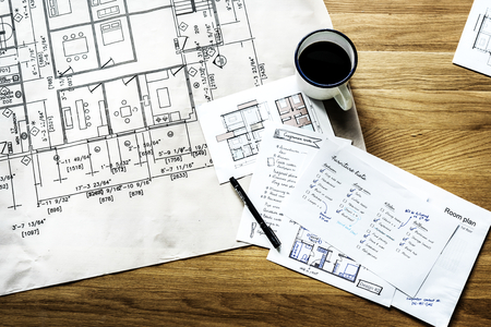 Closeup of house plan blueprint Banque d'images - 96685367