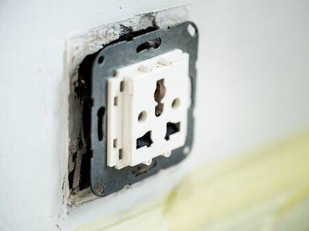 Closeup of AC power plug socket