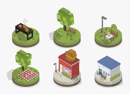 Illustration set of pixelated park and city models Stock fotó - 97156189