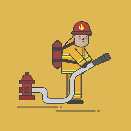 Illustration of fire fighter 스톡 콘텐츠