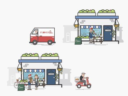 Illustration of flower shop Banco de Imagens - 97155957