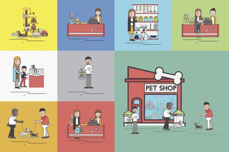 Illustration set of pet shop Stok Fotoğraf - 97155774