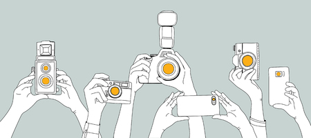 Illustration of people snap photo 写真素材