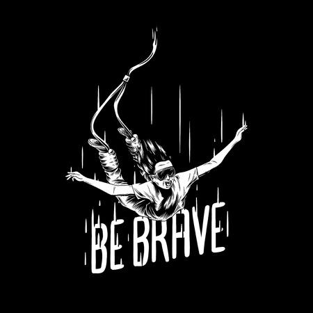 'Be brave' hand-drawn illustration Banco de Imagens - 97155479