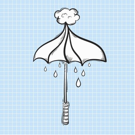 Illustration of umbrella and rain isolated on background