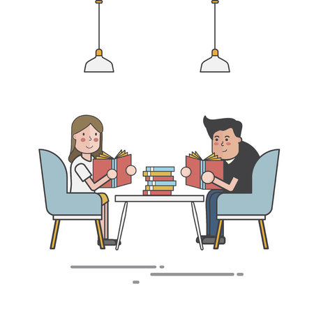 Illustration of people reading in a library