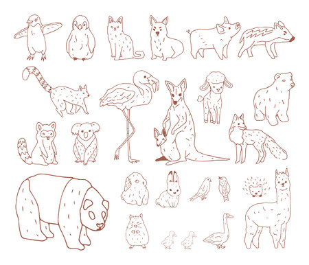 Animals Illustration Art Set 스톡 콘텐츠