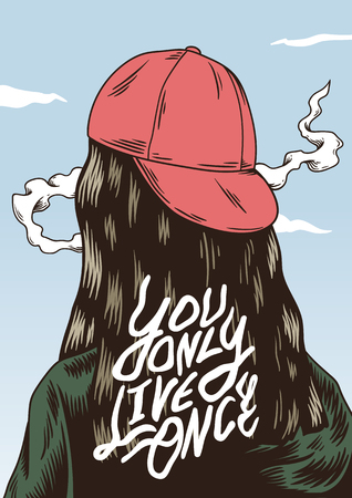 You only live once quote on the back of a girl Banco de Imagens - 97154974