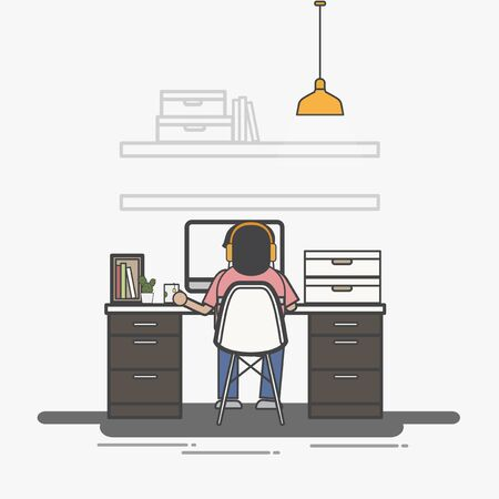 Illustration of office worker avatar Stok Fotoğraf