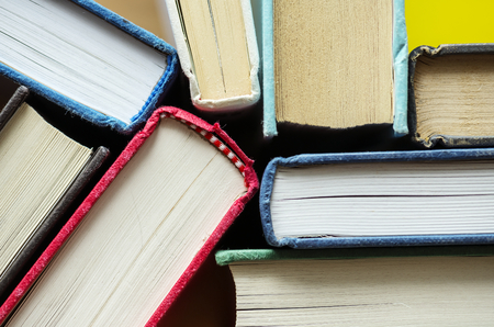 Closeup of antique books educational, academic and literary concept Stockfoto