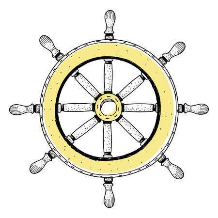 Doodle of ships wheel Stock Photo