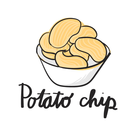 Illustration drawing style of potato chips Reklamní fotografie