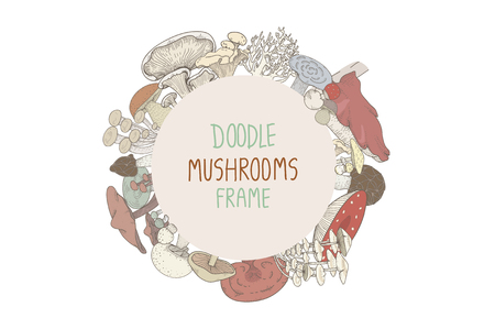 Doodle mushrooms frame Stock fotó - 116689343
