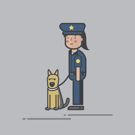 Illustration set of police  Stock fotó