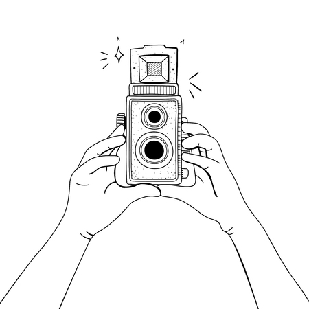 Illustration of analog film camera