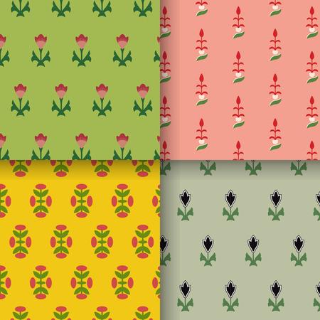 装飾の文法に触発された4つのヴィンテージパターンのセット 写真素材