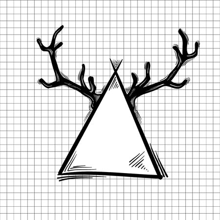 Illustration of antler on triangle