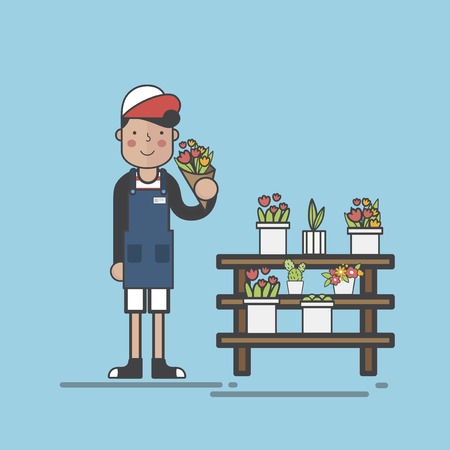 Florist holding a bunch of flowers