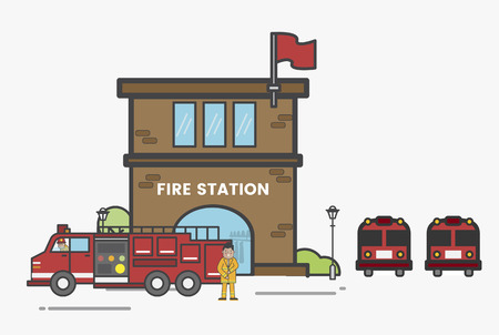 Illustration of fire station Stock fotó