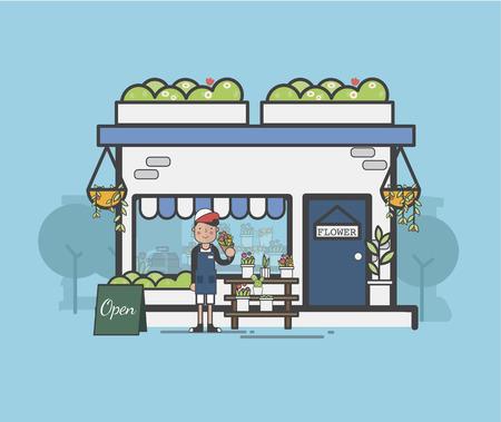 Illustration of flower shop Imagens - 97153380