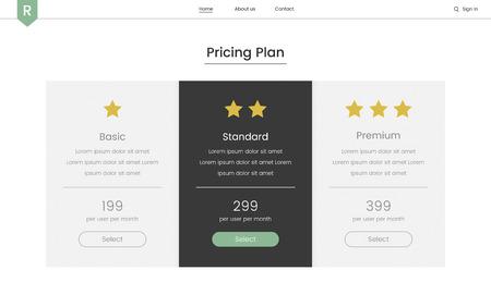 Illustration of website elements for web design Stock Photo