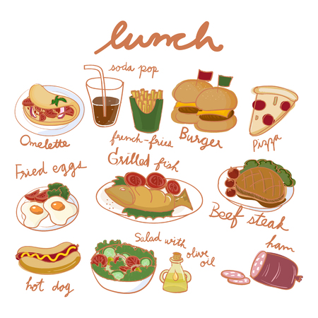 Illustration drawing style of food collection Stockfoto - 97153031