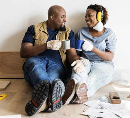 Black couple move to new house concept