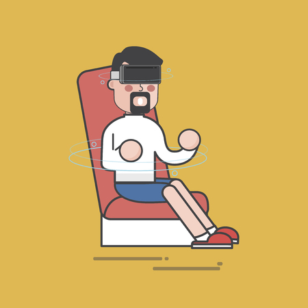 Man usig a VR on a chair