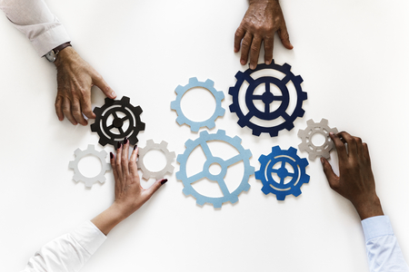 Hands with support gears isolated on white background Stock Photo - 97152892