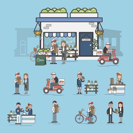 Illustration of flower shop Banco de Imagens - 97152925