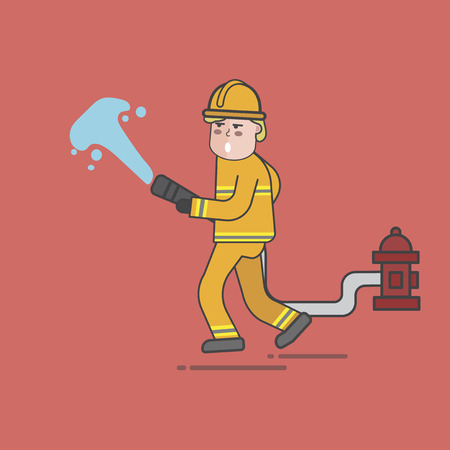 Illustration of fire fighter 스톡 콘텐츠 - 97152811