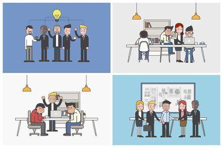 Colección de trabajadores de oficina ilustrada en situaciones relacionadas con éxito Foto de archivo - 97152708