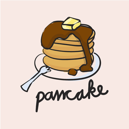 Illustration drawing style of pancake 版權商用圖片