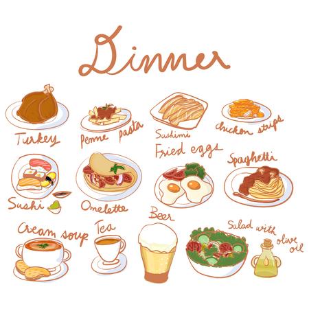Illustration of dinner set collection Stockfoto - 97629930