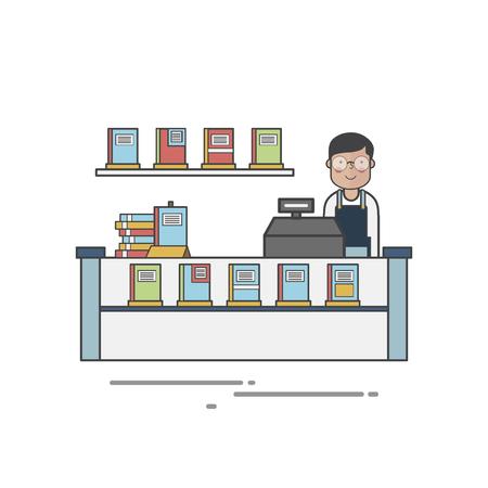 Bookstore cashier Foto de archivo - 116603996