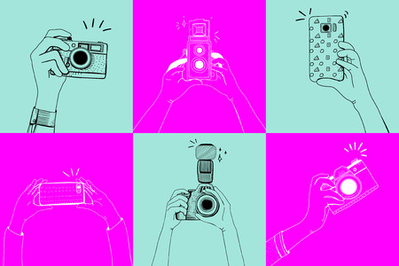 Illustrations of hands taking a photo