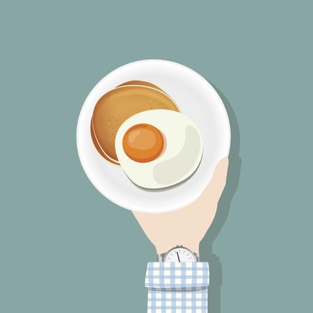 Hand holding breakfast plate
