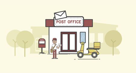 Illustration set of post delivery
