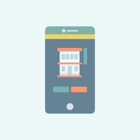 Illustration of a building in a phone Stok Fotoğraf