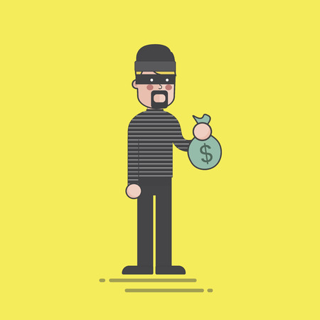 Robber holding a bag of cash