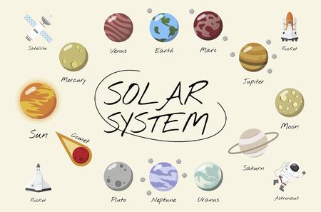 Der Vektor des Sonnensystems Standard-Bild - 97736443