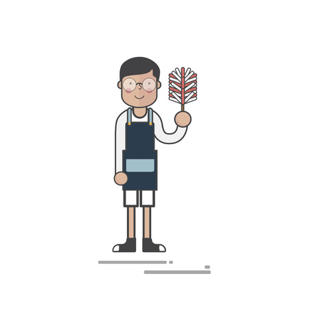 Man holding up feather duster