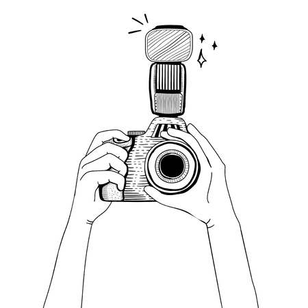 Illustration of DSLR camera