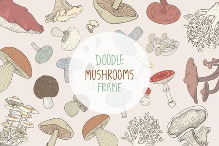 Doodle mushroom frame Stok Fotoğraf