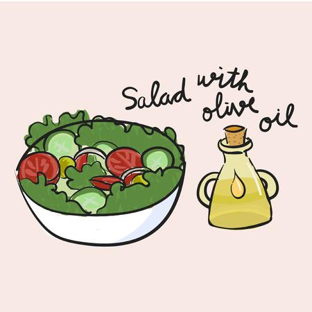 Illustration drawing style of salad